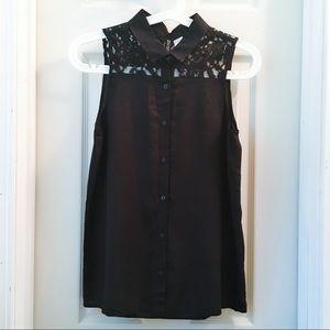 NWOT Sexy & Flowy Black Blouse w Cute Lace Details